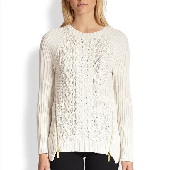 8af03ab566d L / Michael Kors gold zip white cable knit sweater